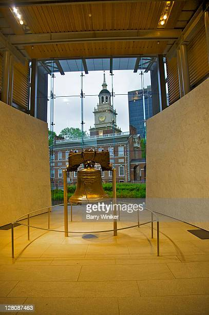 liberty bell, in liberty bell center, independence national historical park, philadelphia, pennsylvania - liberty bell stock pictures, royalty-free photos & images