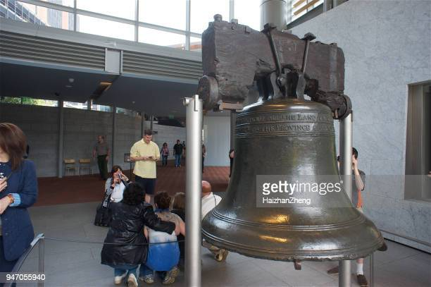 liberty bell in the liberty bell center in philadelphia - liberty bell stock pictures, royalty-free photos & images