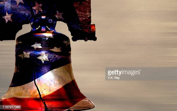 liberty bell stylized with the american flag - liberty bell stock pictures, royalty-free photos & images
