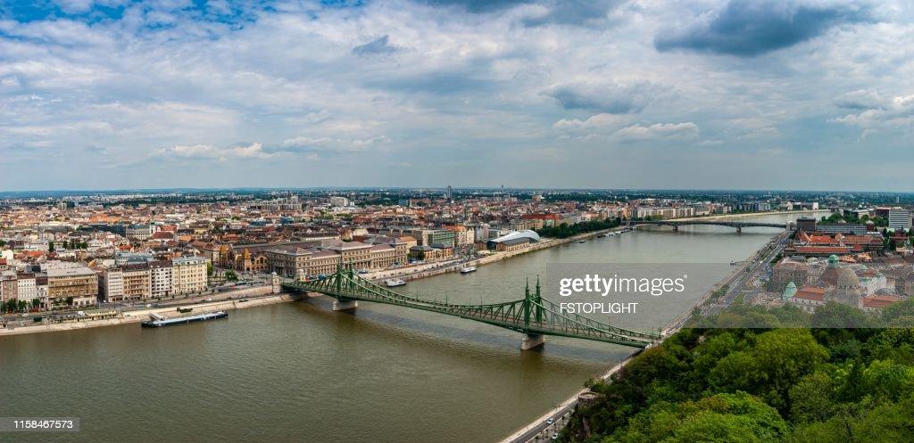 Liberty bridge and cityscape of Budapest city : Stock Photo