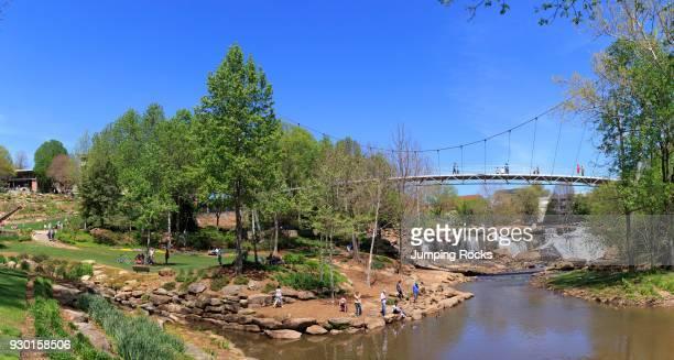 Liberty Bridge and Falls Park on the Reedy in Spring Greenville South Carolina USA