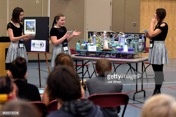 Liberty Classical Academy 8th grader Grace Miller 7th grader Olivia Newitt and 8th grader Josephine Koschak explain the workings of Terra Mare the...