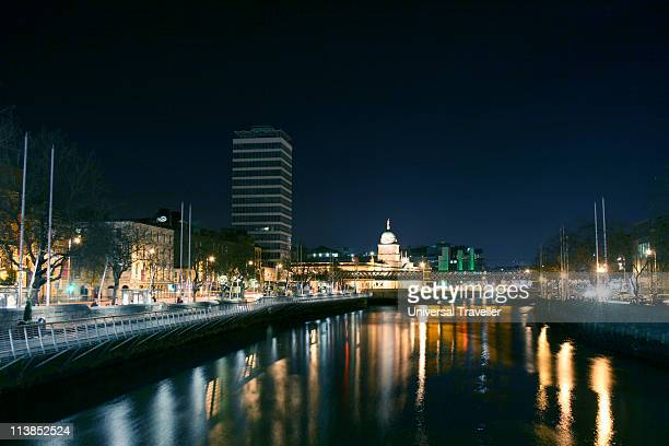 liberty hall, customs house, river liffey, dublin - belfast stock pictures, royalty-free photos & images