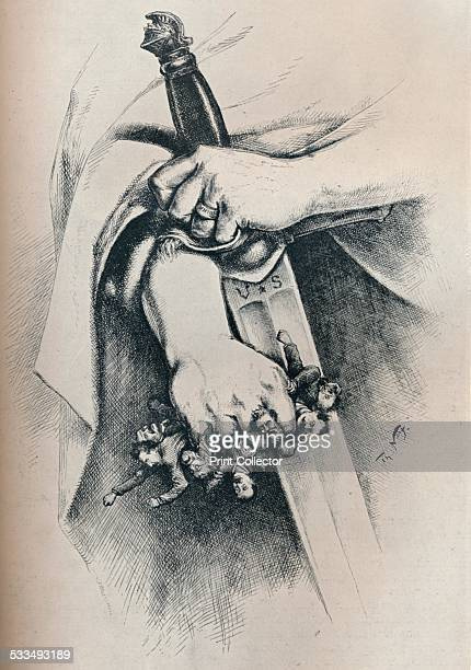 Liberty is not Anarchy 1886 This cartoon shows the hands of Columbia holding in her left hand a sword labeled US and in her right a handful of...