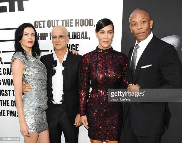 Liberty Ross Jimmy Iovine Nicole Young and Dr Dre attend the premiere of The Defiant Ones at Paramount Theatre on June 22 2017 in Hollywood California