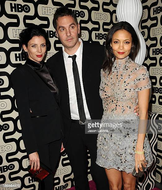 Liberty Ross Ol Parker and Thandie Newton attend the HBO after party at the 70th annual Golden Globe Awards at Circa 55 restaurant at the Beverly...