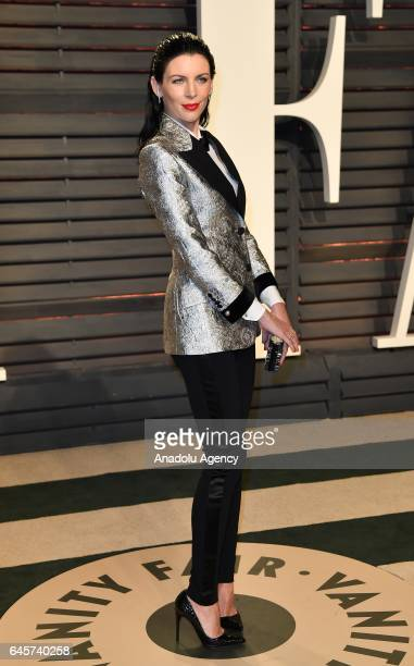Liberty Ross poses as she arrives at the Vanity Fair Oscar Party in Beverly Hills California Los Angeles on February 26 2017