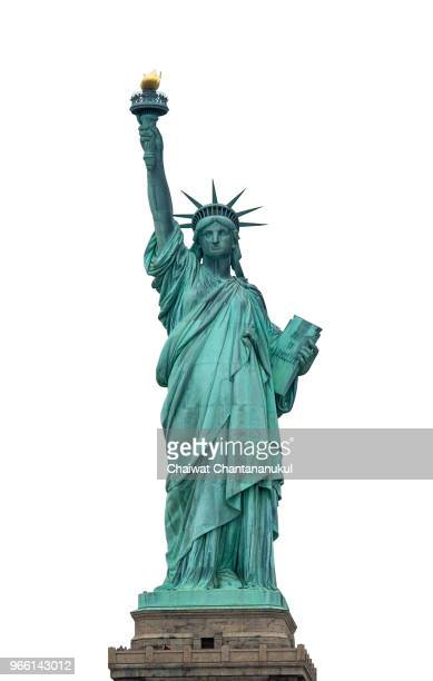 liberty statue of united states of america in white background - freedom fotografías e imágenes de stock