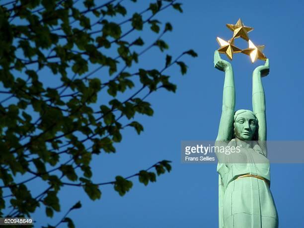 Liberty Statue on Freedom Monument in Riga, Latvia