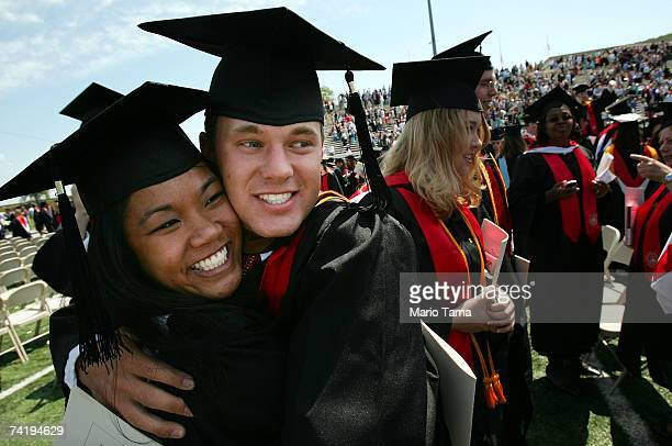 Liberty University graduates celebrate after the school's 34th commencement ceremony the first without Rev Jerry Falwell May 19 2007 in Lynchburg...