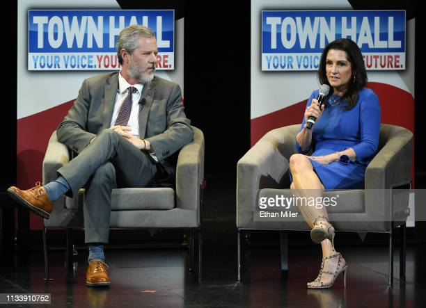 Liberty University President Jerry Falwell Jr and Becki Tilley speak during a town hall meeting on the opioid crisis as part of first lady Melania...