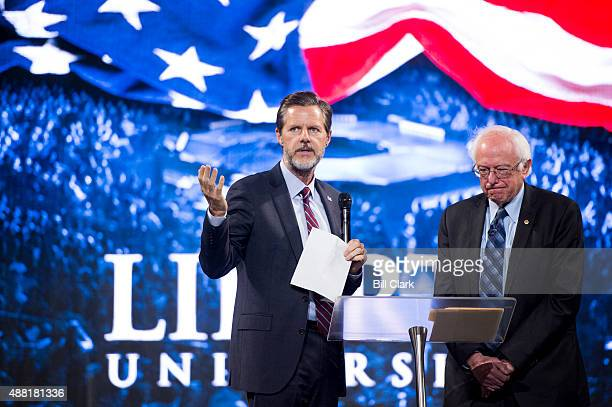 Liberty University president Jerry Falwell Jr introduces Presidential candidate Sen Bernie Sanders IVt before Sanders' speech at Liberty University's...