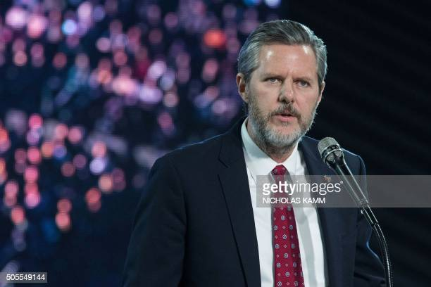 Liberty University president Jerry Falwell Jr introduces US Republican presidential candidate Donald Trump at a rally at Liberty University the...