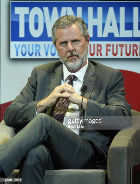 Liberty University President Jerry Falwell Jr participates in a town hall meeting on the opioid crisis as part of first lady Melania the first lady's...