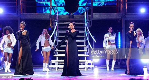 Liberty X members Kelli Young Michelle Heaton and Jessica Taylor on stage at The Royal Variety Performance held at The Hammersmith Apollo December 2...