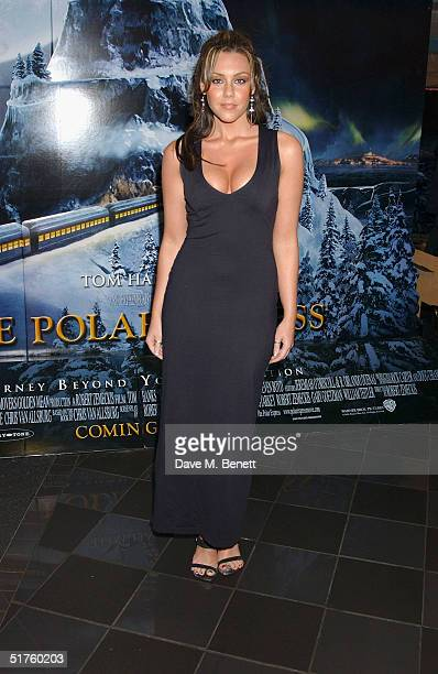 Liberty X singer Michelle Heaton arrives at the UK premiere of 'Polar Express' at Vue cinema in Leicester Square on November 17, 2004 in London.