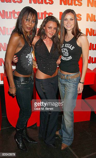Liberty X singers Kelli Young Michelle Heaton and Jessica Taylor attend the 1st Birthday party for Nuts Magazine at Trap Wardour Street on January 20...
