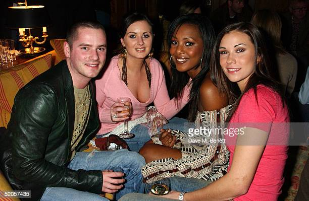 Liberty X singers Tony Lundon guest Kelli Young and Jessica Taylor arrive at the Celebrity Screening for film Meet The Fockers at the Covent Garden...