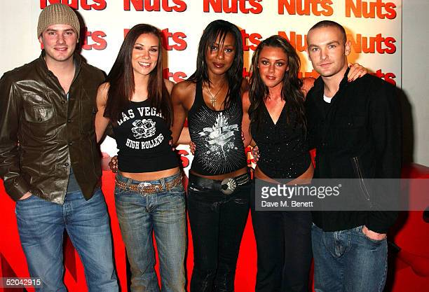 Liberty X singers Tony Lundon Kelli Young Michelle Heaton Jessica Taylor and Kevin Simm attend the 1st Birthday party for Nuts Magazine at Trap...