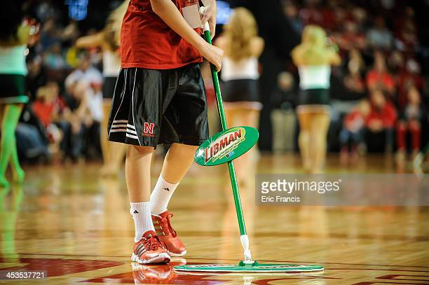 Libman floor cleaners during the game between Nebraska Cornhuskers and South Carolina State Bulldogs at Pinnacle Bank Arena on November 17 2013 in...