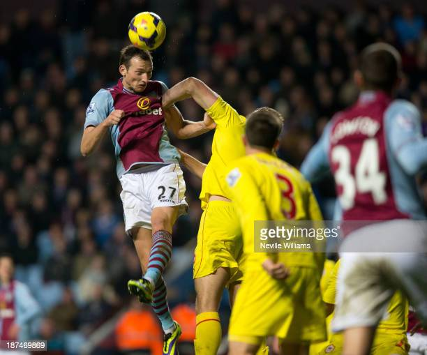 Libor Kozak of Aston Villa scores for Aston Villa during the Barclays Premier League match between Aston Villa and Cardiff City at Villa Park on...