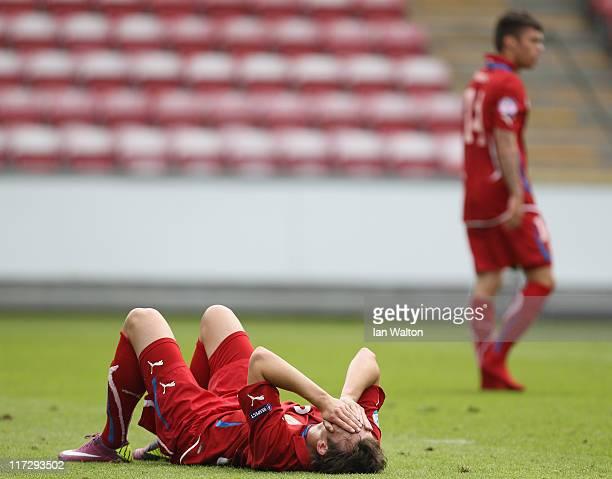 Libor Kozak of Czech Republic looks dejeced after the UEFA European U21 Championship third place playoff match between Czech Republic and Belarus at...
