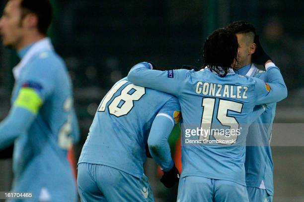 Libor Kozak of Lazio celebrates after scoring his team's second goal during the UEFA Europa League round of 32 first leg match between VfL Borussia...