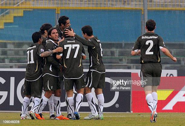 Libor Kozak of Lazio celebrates with teammates after scoring his team's second goal during the Serie A match between Brescia Calcio and SS Lazio at...