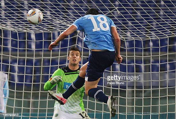 Libor Kozak of SS Lazio scores the opening goal during the UEFA Europa League group D match between SS Lazio and Sporting Clube de Portugal on...