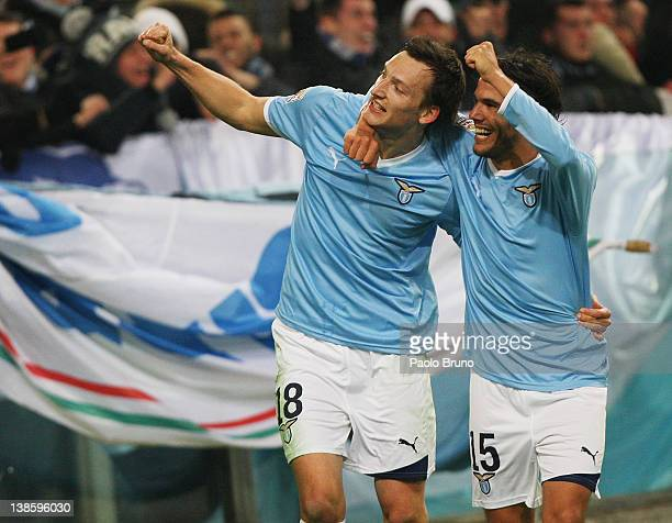 Libor Kozak with his teammate Alvaro Gonzalez of SS lazio celebrates after scoring the third goal during the Serie A match between SS Lazio and AC...