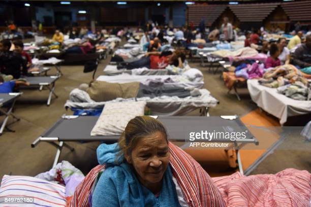 TOPSHOT Librada is seen at the Roberto Clemente Coliseum refuge in San Juan Puerto Rico on September 19 prior the arrival of Hurricane Maria She left...