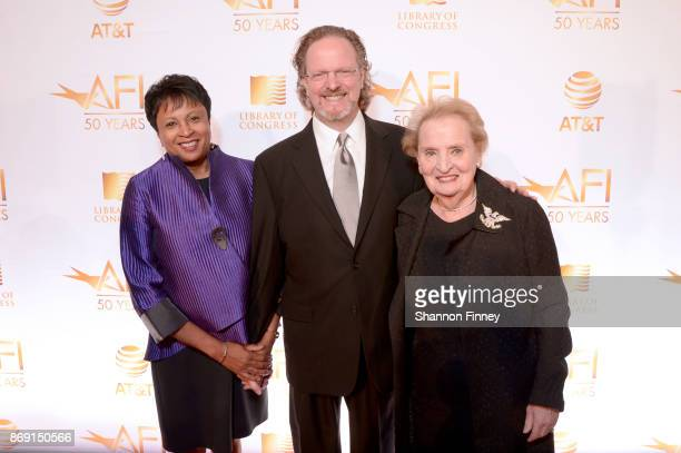 Librarian of Congress Dr Carla Hayden AFI President and CEO Bob Gazzale and Frmr Secretary of State Madeline Albright attend the AFI 50th Anniversary...