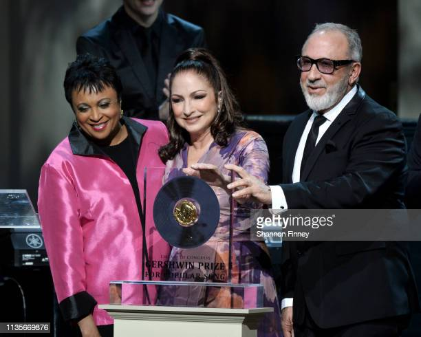 Librarian of Congress Dr Carla Hayden presents the Gershwin Prize to Gloria and Emilio Estefan at the 2019 Gershwin Prize Honoree's Tribute Concert...