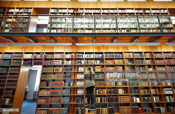A librarian works in a library of the Johann Wolfang GoetheUniversity on October 13 2014 in Frankfurt am Main Germany The Johann Wolfgang...