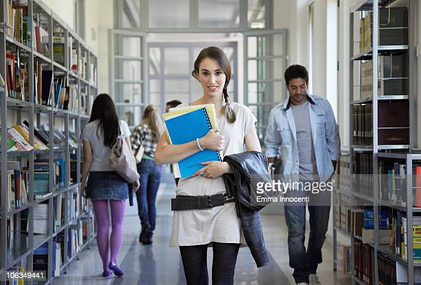 library, corridor, plated hair, portrait, books