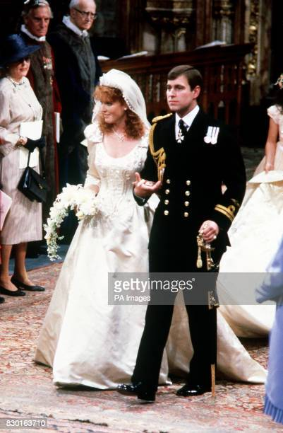 A Library file picture of The Duke and Duchess of York during their wedding ceremony at Westminster Abbey London