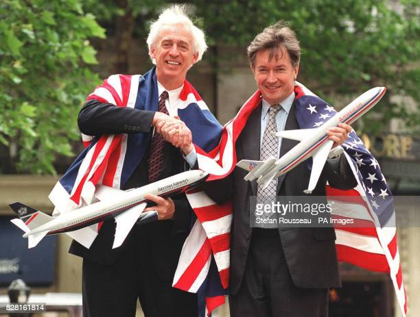 Library filer dated 11/6/96 of Don Carty president of American Airlines draped in the Union Jack and Bob Ayling the former Chief Executive of British...