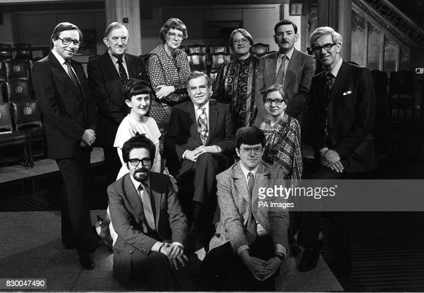 Library filer dated 19383 Mastemind presenter Magnus Magnusson with all 10 previous winners of the BBC quiz Fred Housego Sir David Hunt Mrs Patricia...