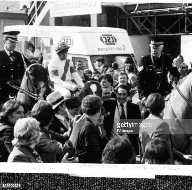 Library Filer No194963 of Bob Champion on Aldaniti after winning the Grand National in 1981 dated 4481 Aldaniti one of the bestloved winners of the...