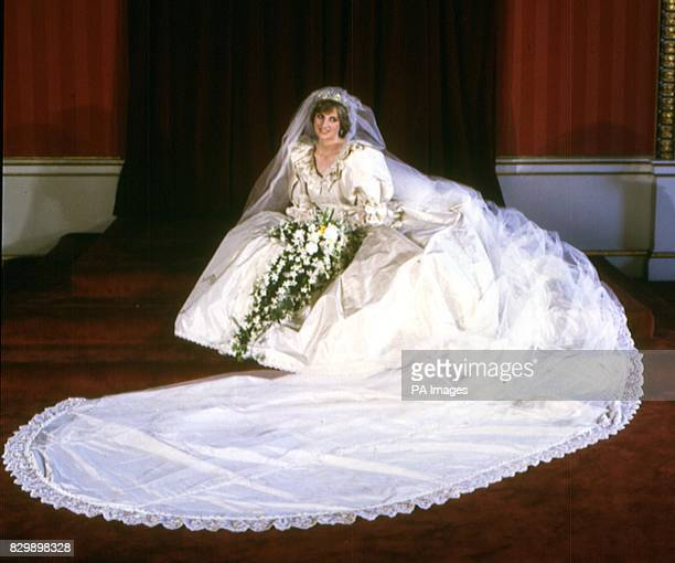 Library filer of Diana, Princess of Wales, in her wedding dress. It was reported today that the princess is to donate the ivory gown to the Victoria...