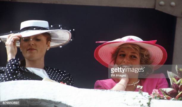 Library filer ref 66815 dated 3687 of the Duchess of York and the Princess of Wales at Epsom for the Derby The princess was killed today in a car...