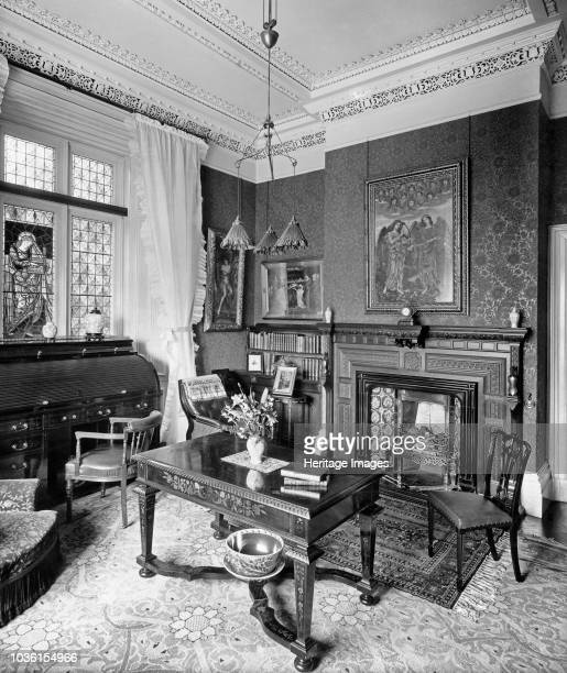 Library Holmestead North Mossley Hill Road Liverpool Merseyside 1901 View of the Arts and Crafts interior with PreRaphaelite items The library...