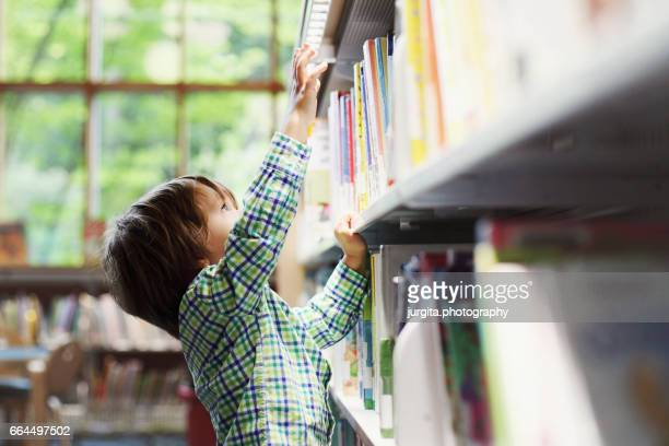 library. little boy reaching for a book on high self - high up stock photos and pictures