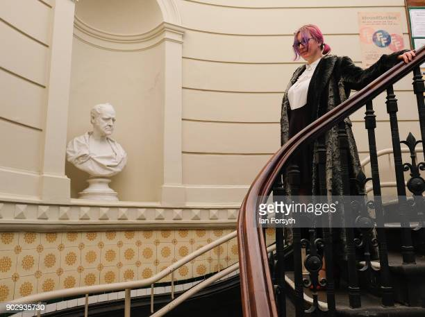 Library member LianneMarie Mease walks down the main staircase after a visit to the Leeds Library on January 9 2018 in Leeds England This year sees...