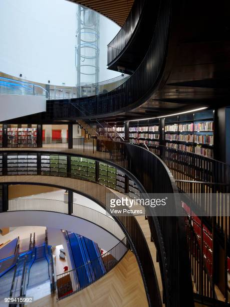 Library of Birmingham, Birmingham, United Kingdom. Architect: Mecanoo Architecten, 2013. View from multi-storey rotunda towards escalator.