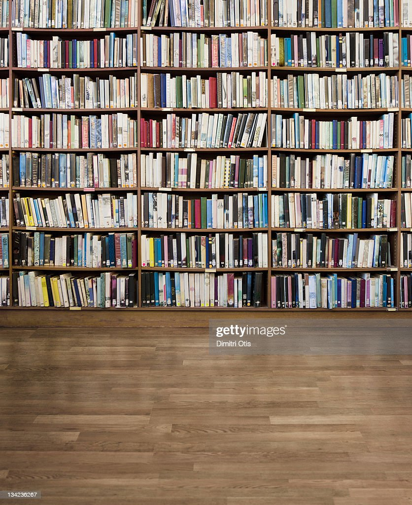 Library of books without titles or branding : Stock Photo