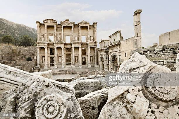 library of celsus, ephesus. - ephesus stock pictures, royalty-free photos & images