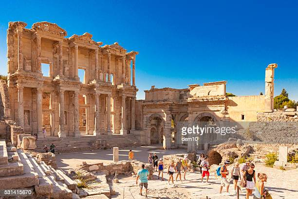 library of celsus, ephesus - ephesus stock pictures, royalty-free photos & images