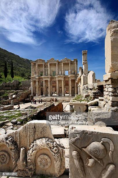 library of celsus, ephesus, turkey - ephesus stock pictures, royalty-free photos & images