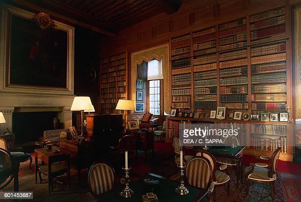 Library of the Chateau de Serrant SaintGeorgessurLoire Loire Valley Pays de la Loire France
